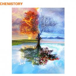 CHENISTORY Bezramowe Cztery Pory Drzewo Krajobraz MAJSTERKOWANIE Malowanie Numerami Kit Farby Na Płótnie Malowanie Kaligrafia Dl