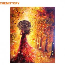 CHENISTORY Piękne Kobiety Jesień Krajobraz DIY Malowanie Przez Numery Zestawów Barwienia Farby Przez Numery Nowoczesne Wall Art