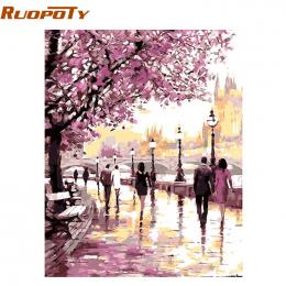 Rama Cherry Blossoms RUOPOTY Drogowego Diy Obraz Olejny Numery Zestawów Wall Art Picture Home Decor Akrylowe Farby Na Płótnie Sz