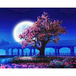 GATYZTORY Bez Ramki Brzoskwiniowy kwiat DIY Malowanie Numerami Krajobraz Malarstwo Ścienne W Stylu Vintage Akrylowe Farby Na Płó