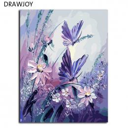 DRAWJOY Bezramowe Zdjęcia Malowanie Przez Numery Ręcznie Malowane Na Płótnie DIY Obraz Olejny Numerów 40*50 cm Motyl G406