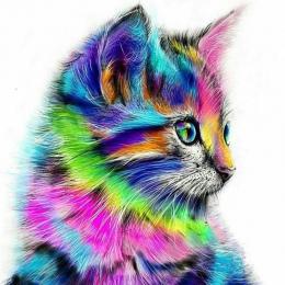 Bezramowe abstrakcyjne kot zwierząt diy malowanie by numbers akrylowa farba na płótnie rysunek farba by numbers unikalny prezent