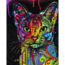 Bezramowe Abstrakcyjne Kolorowe Kot Zwierzęta DIY Malowanie Numerami Ręcznie Malowane Obraz Olejny Na Wall Art Picture Home Deco