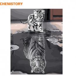 CHENISTORY Bezramowe Refleksji Kot Zwierzęta DIY Malowanie Przez Numery Nowoczesne Wall Art Canvas Malarstwo Unikalny Prezent Dl