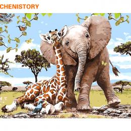 CHENISTORY Bezramowe Słoń Giraff DIY Malowanie Przez Numery Nowoczesne Wall Art Obraz Farby Przez Numery Unque Prezent Dla Home