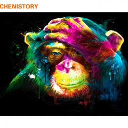 CHENISTORY Małpa DIY Malowanie Przez Numery Zwierzęta Malowanie Kaligrafia Akrylowe Farby Przez Numery Dla Home Decor 40x50 cm d