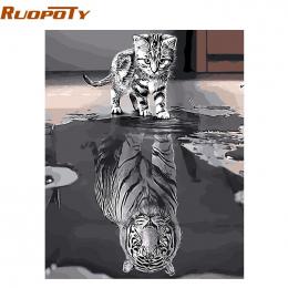 RUOPOTY Ramki Piękny Kot MAJSTERKOWANIE Malowanie Numerami Kit Zwierzęta Ręcznie Malowane Obraz Olejny Wyjątkowy Prezent Dla Hom