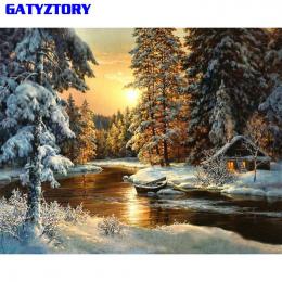 Wioska GATYZTORY Śniegu DIY Malowanie Numbers Płótnie Painitng Główna Wall Art Obraz Kolorowanie Według Numerów Dla Home Decor 4