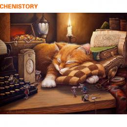 CHENISTORY Bezramowe Sleeping Cat DIY Malowanie Przez Numery Wall Art Picture Home Decor Akrylowe Farby Przez Numery Na Prezent
