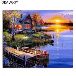 Oprawione Malarstwa i Kaligrafii DRAWJOY Krajobraz MAJSTERKOWANIE Malowanie Przez Numery Home Decor Dla Pokoju Gościnnego GX5853