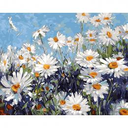 Bezramowe Białe Kwiaty DIY Malowanie Przez Numery Nowoczesne Wall Art Obraz Farby Akrylowe Unikalny Prezent Dla Home Decor 40x50