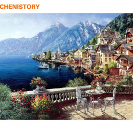 CHENISTORY Seascape Obraz Olejny Numery DIY Cyfrowe Zdjęcia Kolorowanie Według Numeru Na Płótnie Unikalne Prezenty Home Decorati