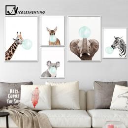 NICOLESHENTING Dziecko Zwierząt Zebra Girafe Plakat Na Płótnie Przedszkole Wall Art Drukuj Malarstwo Nordic Obraz Dzieci Sypialn