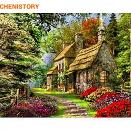 CHENISTORY Bezramowe Wiejskich Krajobraz Malowanie DIY Numerami Acrtylic Ręcznie Malowane Obraz Olejny Na Wystrój Domu 40x50 cm