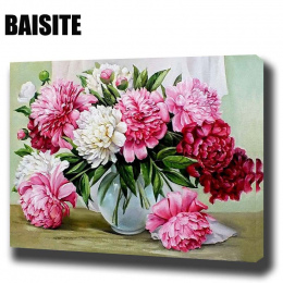 BAISITE DIY Oprawione Obraz Olejny Numery Kwiaty Zdjęcia na Płótnie Malarstwo Dla Pokoju Gościnnego Wall Art Home Decor E781