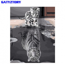 GATYZTORY Refleksji Kot MAJSTERKOWANIE Malowanie Numerami Akrylowe Farby Na Płótnie Nowoczesne Wall Art Obraz Kolorowanie Według
