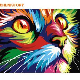 CHENISTORY Bezramowe Kot Zwierzęta DIY Malowanie Przez Numery Zestawów Kolorystyka Numerami Unikalny Prezent Home Wall Art Decor