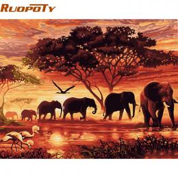 Słonie RUOPOTY Krajobraz DIY Cyfrowy Obraz Numerami Nowoczesne Malarstwo Ścienne Płótnie Wyjątkowy Prezent Dla Home Decor 40x50