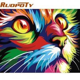 RUOPOTY diy ramy Obrazu Kot Majsterkowanie Malowanie Przez Numery Nowoczesne Wall Art Picture Dzieł Sztuki Ręcznie Malowane Wyst
