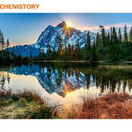 CHENISTORY Snow Mountain DIY Malowanie Przez Numery Zestawów Krajobraz Farby Na Płótnie Malarstwo Kaligrafii Home Decor Drop Shi