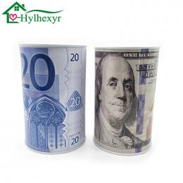 Wysokiej jakości kreatywne euro dolar metalowy cylinder skarbonka Saving Money Box Home Decoration tin skarbonka dzieci małe pre