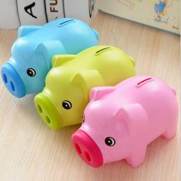 Cartoon Świnia Skarbonka Monety Pieniądze Plastikowe Nadal Oszczędności Zabawki Gotówka Sejf Cartoon Transparent świnia skarbonk