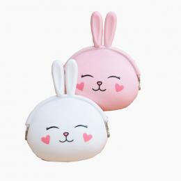 1 SZTUK 12.5*10 cm Różowy i biały ekspresowe trochę królik Emoji Silikonowe Galaretki Monety Kiesy Money Bag Holder Dla Dzieci p