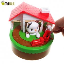 Kot Dom Kradzież Monety Banku Pieniądze Penny Oszczędność Pieniędzy Pole Elektryczne Oszczędność pieniędzy Box Dla Dzieci Kitty