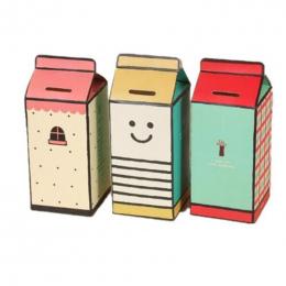 CFen's DIY skarbonka money box, pole mleka kształt papieru zapisywanie box/przechowywania pole monety, f-CB01