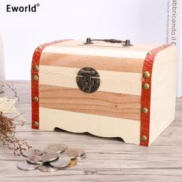 Eworld 4 Rozmiary New Vintage Biżuteria naszyjnik z Pereł Bransoletka Drewniane Skarb Przypadku Cute Piggy Bank Może Być Zabloko