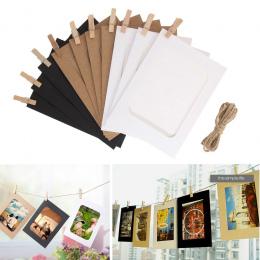 10 sztuk Połączenie Ramka Ścienna DIY Wiszące Obraz Albumu Wesele Dekoracji Papieru Ramka na zdjęcia z Klipy Linowe
