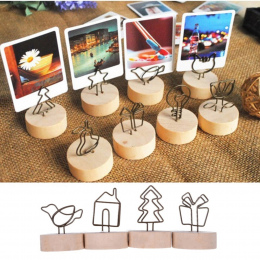 4 cm Kreatywny Drewniane Okrągłe Zdjęcia Klip Memo Nazwa Karty Wisiorek Uchwyt Uwaga Artykuły Ramki Na Zdjęcia Tabela Liczba Wed