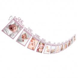 1-12 Miesięcy dziecko Zdjęcie holder Prezent urodzinowy Dla Dzieci Pokoju Dekoracje Zdjęcia Miesięczne Banner Ramka na zdjęcia Ś