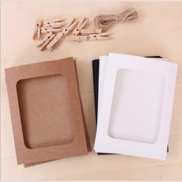10 sztuk/partia 3/6 inch papieru ramki do zdjęć rocznika ramka na zdjęcia diy dziecko ramka na zdjęcia ślubne ramki na ścianie