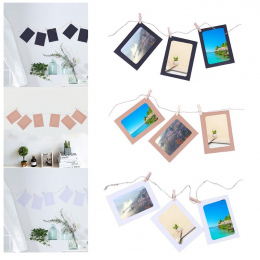 10 sztuk ramka + 10 sztuk Drewniane klipy + 1 pc Liny 4 cal Wiszące na Ścianie Ramki Papier Fotograficzny Wyświetlanie obrazu Mo