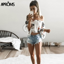Aproms Flare Rękaw Boho Kwiat Drukuj Tank Tops Elegancki Off shoulder Upraw Top dla Kobiet Odzież Lato Streetwear Tees Camis