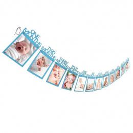 1-12 Miesięcy Dziecko Ramka na zdjęcia Dzieci Prezent Urodzinowy Home Dekoracje Wiszące Photo Banner Miesięcznego Zdjęcie Posiad