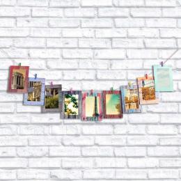 9 sztuk/partia Słojów Drewna Ściany Papieru Ramka na zdjęcia 7 cali Home Decor Mur Zdjęcia Album Wiszące Liny Drewniane Klip Szy