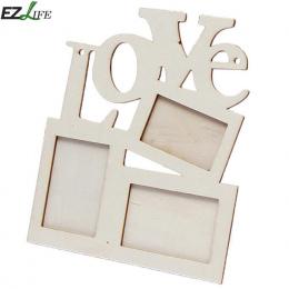 Drewniane Ramki na zdjęcia DIY Miłość Kształt Trwała Mini Rodzina Ramka Boże Narodzenie Home Decor Akcesoria Porta Retrato Rahme