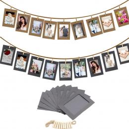 10 Sztuk 3 Calowy Photo Paper Flim Ramki Album Podłubać Zdjęcia Na Ścianie Wisi + Liny + Klipy Zestaw Ramka na zdjęcia Porta Ret