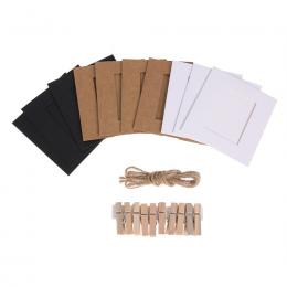 10 sztuk 3/4 cal Ścianie Wisi Ramka DIY Papier Pakowy Rama Obrazu Wyświetlacz Modern Art Home Dekoracje Ślubne z klipy linowe