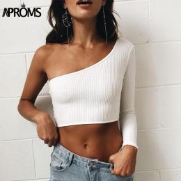 Aproms Zimnego Shoulder Camisole Tank Top Femal Dzianiny Cami Crop Top Kobiety Przycięte Blaty Streetwear Elastyczna Krótki Knit