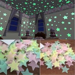50 sztuk 3D Stars Luminous Świecić W Ciemności Naklejki Ścienne fluorescencyjne Naklejki Ścienne Dla Dzieci Pokój Dziecka Sypial