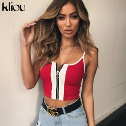 Kliou 2018 New Fashion Red White Patchwork Zipper Fly Kobiety Crop Tops Bawełna Dorywczo Dzianiny Tank tops Camis Slim Camisole
