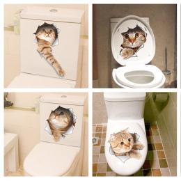 Kot Żywy 3D Rozbite Przełącznik Naklejki Ścienne Łazienka Wc Kicthen Dekoracyjne Kalkomanie Śmieszne Zwierzęta Plakat Wystrój PC