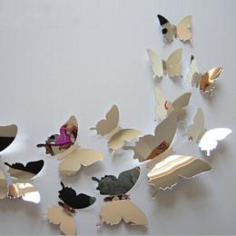 12 sztuk/zestaw nowy przyjeżdża lustro sliver 3d naklejki ścienne motyla wedding party decor diy dekoracje domu