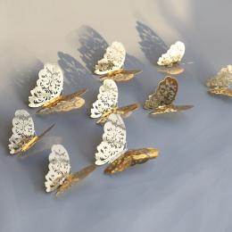 12 sztuk 3D Hollow Butterfly Naklejki Ścienne Home Decor DIY Motyle Lodówka naklejki Pokoju Dekoracji Wedding Party Decor