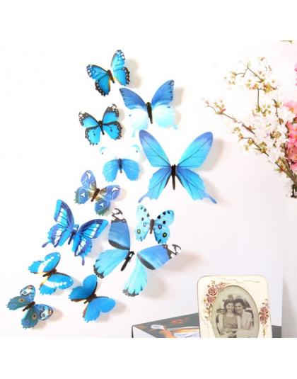 12 Sztuk Motyle Naklejki ścienne Naklejki Naklejki Na ścianę Nowy Rok Dekoracje Domu 3d Motyl Pcv Tapety Dla życia Pokój