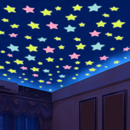% 100 sztuk/partia 3D gwiazdy świecą w ciemności Luminous na Naklejki Ścienne dla Dzieci pokój dzienny Naklejka home Decoration