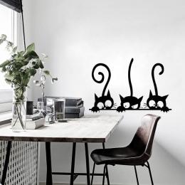 Piękny Trzy Czarny Kot DIY Naklejki Ścienne Zwierząt Dekoracji Pokoju osobowości Winylowe Naklejki Ścienne